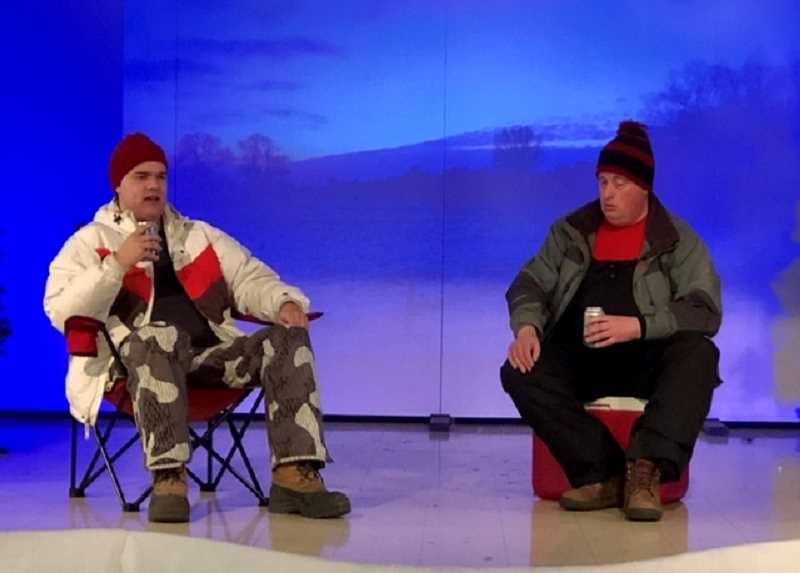 COURTESY PHOTO - Corey McEuin and Nathan Wills characters share a drink and have a chat in 'Almost, Maine,' a bittersweet comedy about love and life in a small town.