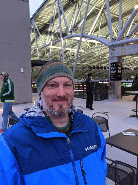 PMG PHOTO: JOSEPH GALLIVAN  - Ian Burrell, who has been coming to Timbers games for nine years, just moved from the Timbers Army to the Duracell top deck of the East Stand. He's optimistic.