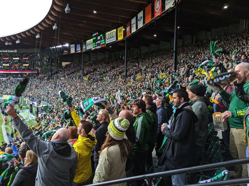 PMG PHOTO: JOSEPH GALLIVAN  - The Timbers Army sings the national anthem ahead of the 2020 home opener against Minnesota United, which Portland lost 3-1.