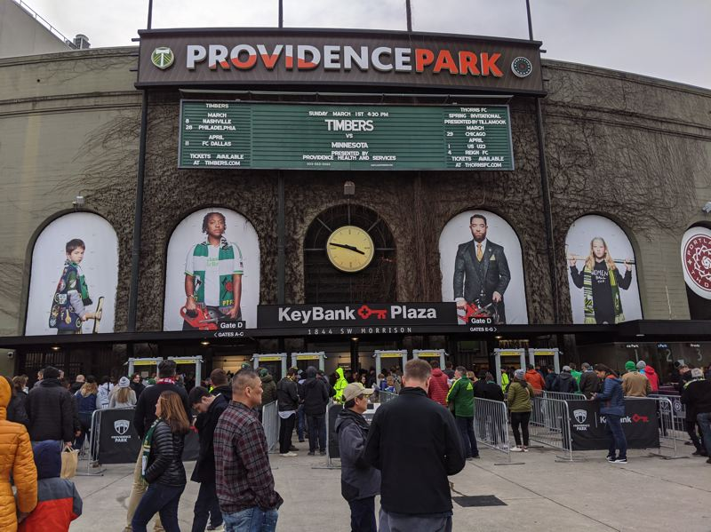 PMG PHOTO: JOSEPH GALLIVAN  - New season, new fan photos. Timbers fans gather before the home opener against Minnesota United on March 1, 2020.