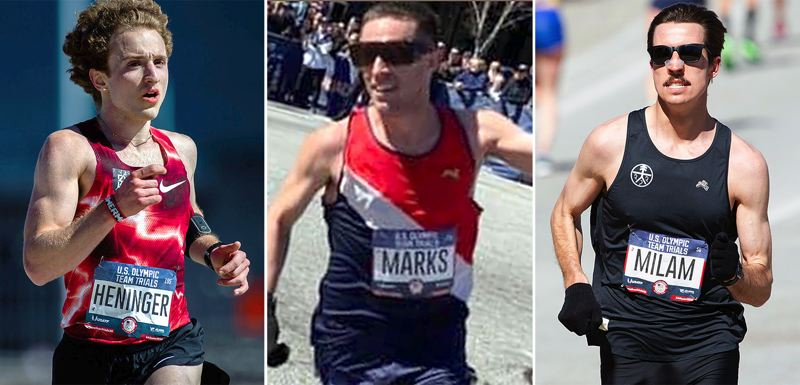 COURTESY PHOTOS - Lake Oswego natives (left to right) Julian Heninger, Dave Marks and Willie Milam all participated in the U.S. Olympic Trials for men's marathon on Saturday, Feb. 29, in Atlanta, Georgia.