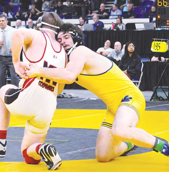 GRAPHIC PHOTO: GARY ALLEN - Hunter James takes on Mountainview's Blake Ohlson the 195-pound finals match.
