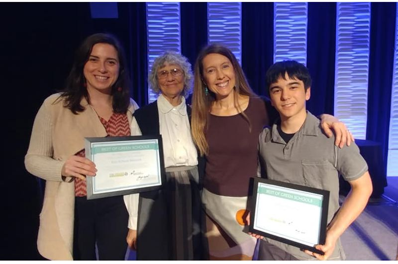 CONTRIBUTED - Pictured from left: Eco-School Network program manger Rachel Willis, board chair Jeanne Roy, executive director Amy Higgs, and Student Leader Award Winner Henry Anderson.