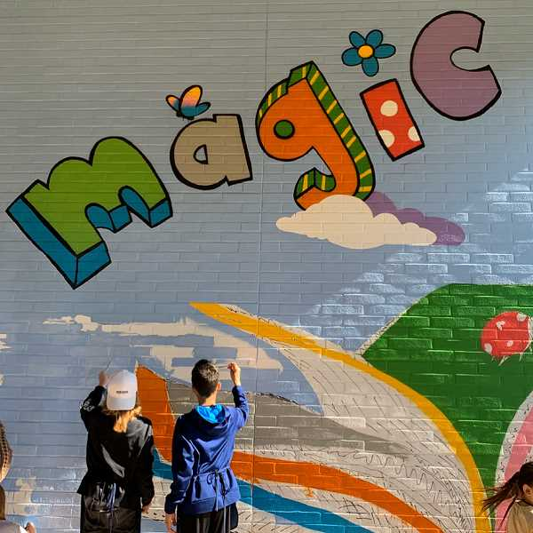 Older students had the opportunity to contribute to the mural in their playground.