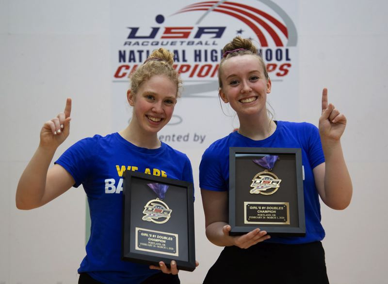 PHOTO COURTESY: KS PHOTOGRAPHY - Barlows tandem of Annie Roberts (left) and Kelsey Klinger repeated at national doubles champs, helping the Bruins to the team title last weekend.