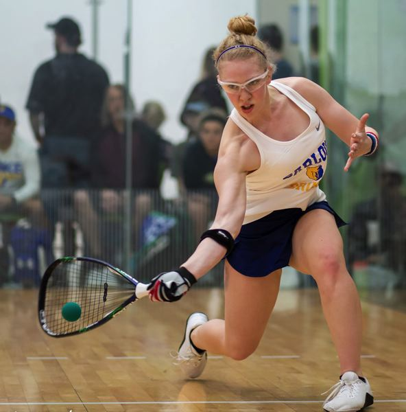 PHOTO COURTESY: KS PHOTOGRAPHY - Barlows Annie Roberts hits a shot on her way to the singles title.