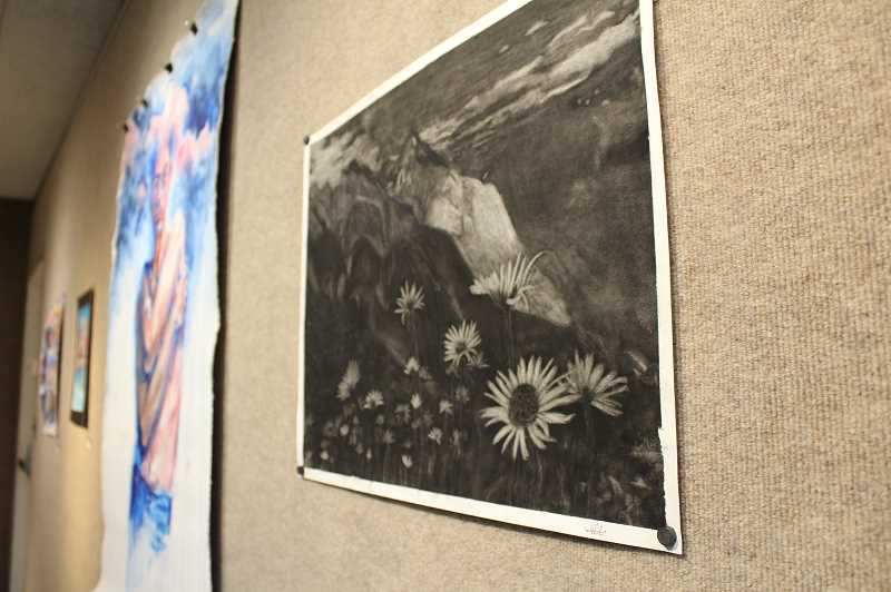 PMG PHOTO: GABBY URENDA - Serene Mountain Scene by Forest Grove High School student Ellie Raetzman. Her piece is on display at Pacific University for the Regional High School Juried show.