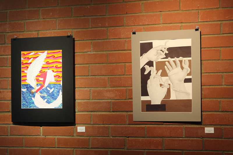 PMG PHOTO: GABBY URENDA - Two pieces created by high school students in Washington County. They are on display at Pacific Univerity's Kathrin Cawein Gallery of Art.