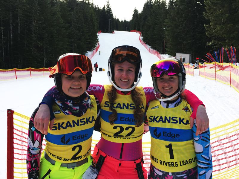 COURTESY PHOTO - Wilsonville skiers Cailin Gahan, Noelle Schaaf and Kiera Bertell will compete in the OISRA Alpine State Championships March 4-6 in Ashland.
