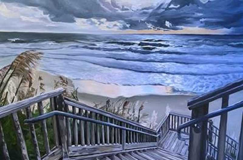 This painting is titled 'Welcome to Olivia Beach,' painted by Maile Sand.
