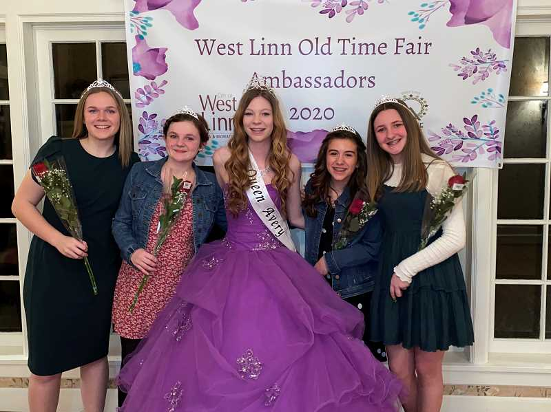 COURTESY PHOTO: WEST LINN PARKS AND REC  - Pictured from left to right are Princesses Beatrice Gilroy, Isabella Buzzelli, Queen Avery Mickey, Princess Katherine McLellan and Princess Hailey Stohler.