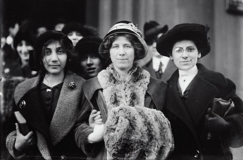 COURTESY PHOTO: LIBRARY OF CONGRESS / UNSPLASH.COM - This image shows suffrage and labor activist Flora Dodge Fola La Follette (1882-1970), center, along with social reformer and missionary Rose Livingston, and a young striker during a garment strike in New York City in 1913.
