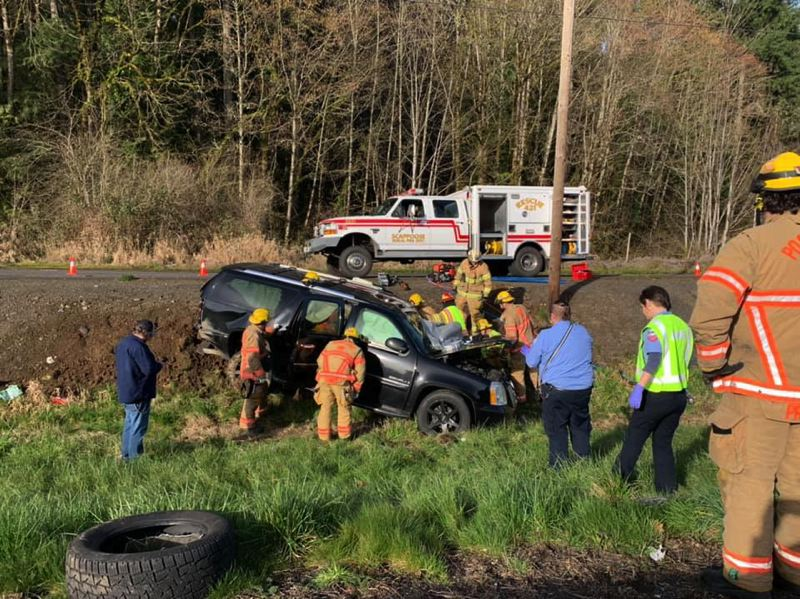 SCAPPOOSE FIRE DISTRICT - Two vehicles landed on the side of Highway 30 after a head-on collision Wednesday morning, March 4.