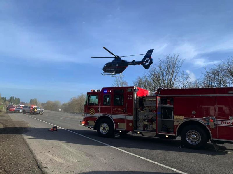 SCAPPOOSE FIRE DISTRICT - LifeFlight was activated to transport an individual to the hospital after a crash on Highway 30 Wednesday morning, March 4.