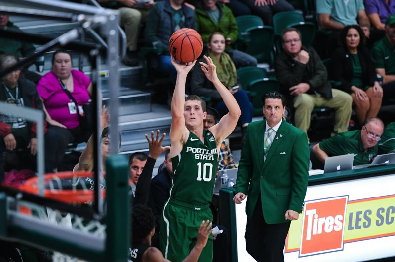PMG FILE PHOTO: CHRISTOPHER OERTELL - Matt Hauser shoots for Portland State as coach Barret Peery watches.