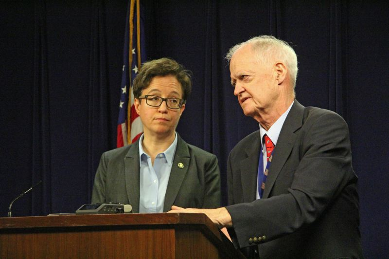 PMG PHOTO: CLAIRE WITHYCOMBE - Speaker of the House Tina Kotek and Senate President Peter Courtney address reporters Thursday afternoon after shutting down the 2020 legislative session. An eight-day walkout by Republicans in the House and Senate curtailed any further lawmaking, the leaders said.