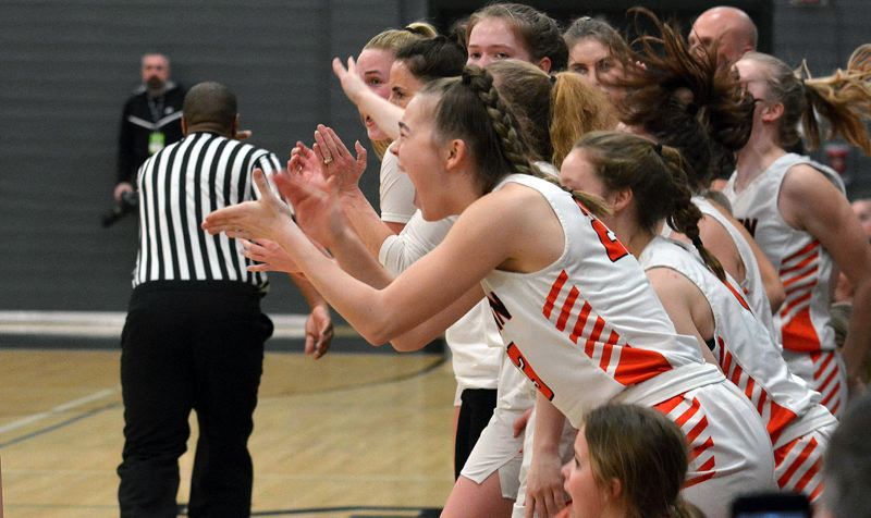 PMG PHOTO: MATT SINGLEDECKER - Beaverton's bench leaps to its feet to celebrate its Friday, March 6, win over St. Mary's in the second round of the Class 6A state playoffs at Beaverton High School.