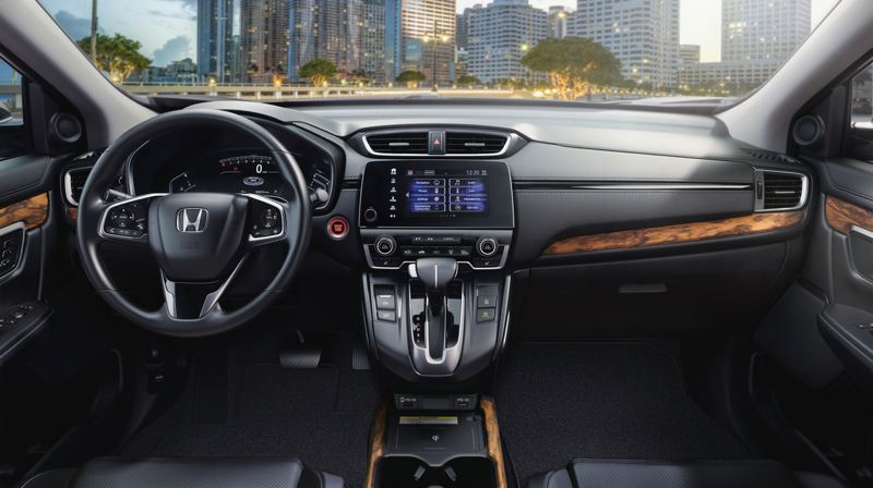 AMERICAN HONDA MOTOR CO. - The interior design of the 2020 Honda CR-V is clean and simple, and the Toring model comes with leather and wood trim.