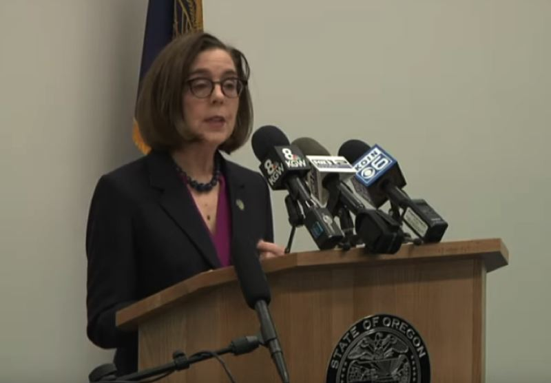 SCREENSHOT - Gov. Kate Brown declares a state of emergency to battle COVID-19 on March 8.