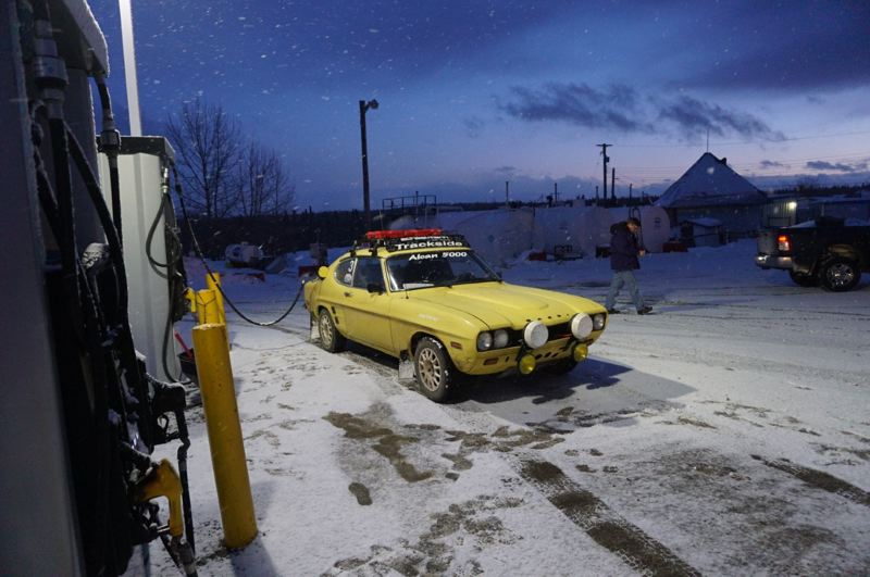 PMG PHOTO: JEFF ZURSCHMEIDE - Russ Kraushaar and Garth Ankeny of Portland drove their 1973 Ford Capri over 5,000 miles from Portland to the Arctic Ocean.