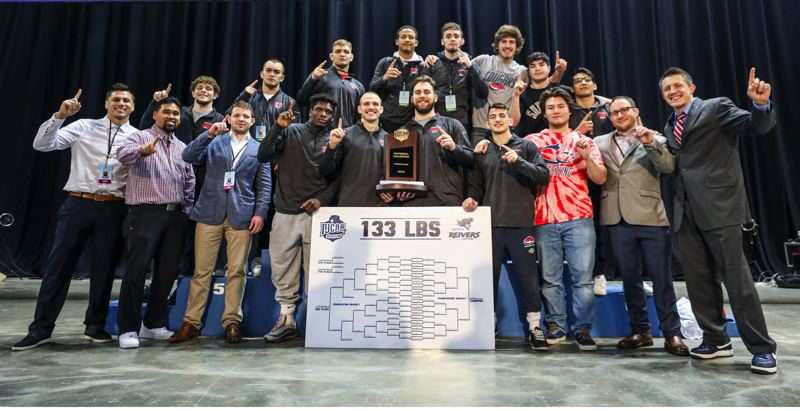 COURTESY PHOTO: NJCAA.ORG - Led by 133-pound champion Jason Shaner, Clackamas Community College finished with seven All-Americans and clinched a second straight NJCAA National Championship wrestling title Saturday in Council Bluffs, Iowa.