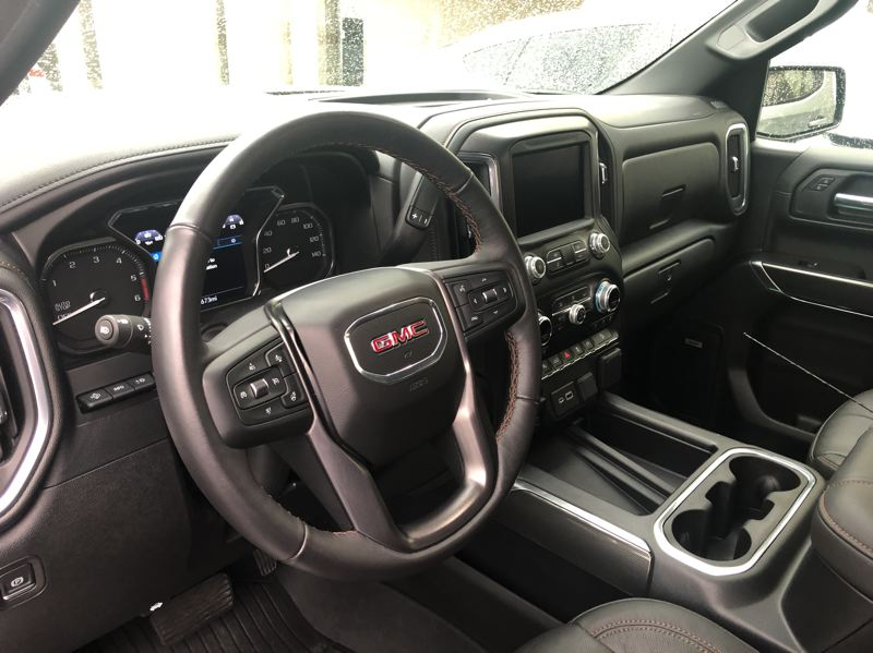 PMG PHOTO: JEFF ZURSCHMEIDE - The 2020 GMC Sierra AT4 has a well-equipped interior, even if you are not going to Arctic Circle.