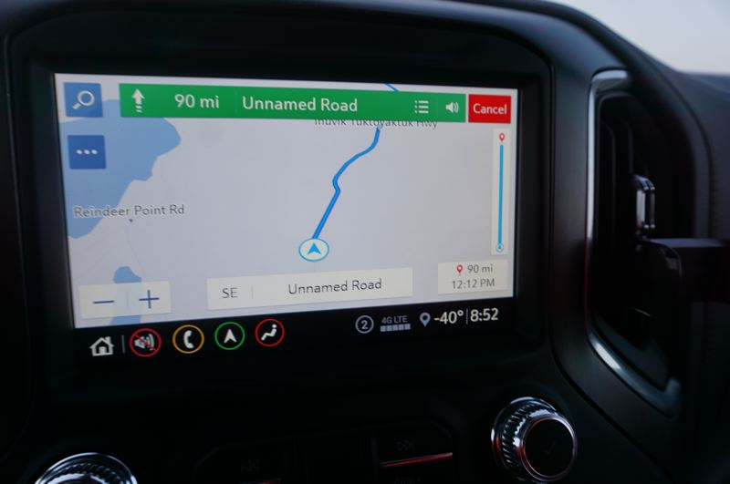 PMG PHOTO: JEFF ZURSCHMEIDE - The large display screen in the 2020 GMC Sierra AT4 was impressive, even if it did not always show the exact route.