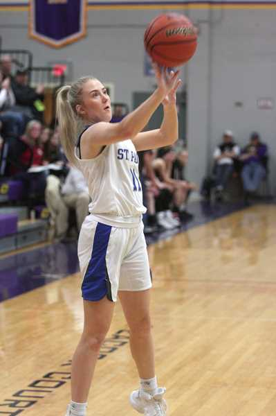 PMG PHOTO: PHIL HAWKINS - St. Paul senior Karlee Southerland was lights out from long range at the 1A State Quarterfinals, connecting on 5-of-6 3-pointers coming off the bench.
