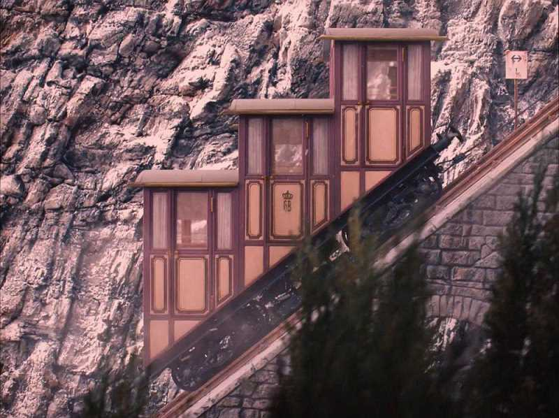 This is the funicular that played a role in Wes Anderson's 'The Grand Budapest Hotel.'
