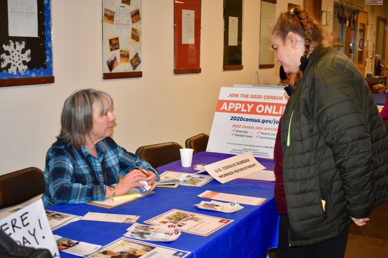 PMG PHOTO: TERESA CARSON - Census worker Judith Jacoby at a recent event in East Portland recruited people to work for the upcoming 2020 census.