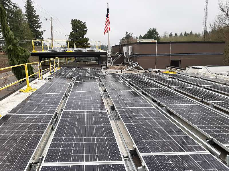 COURTESY PHOTO - Clear Creek Communications installs two solar arrays on the company's Fischers Mill Road property near Oregon City.