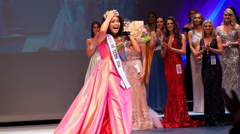 PHOTO COURTESY OF DVM PHOTOGRAPHY - Shayla Montgomery was crowned Miss Oregon Teen USA on Jan. 12 at Mt. Hood Community College. She will go on to the national pageant in June.