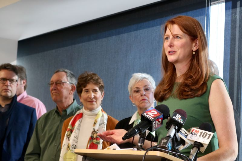 PMG PHOTO: ZANE SPARLING - Susan Bladholm, founder of the Frog Ferry project, speaks during a press conference at the One World Trade Center in Portland on Tuesday, March 10.