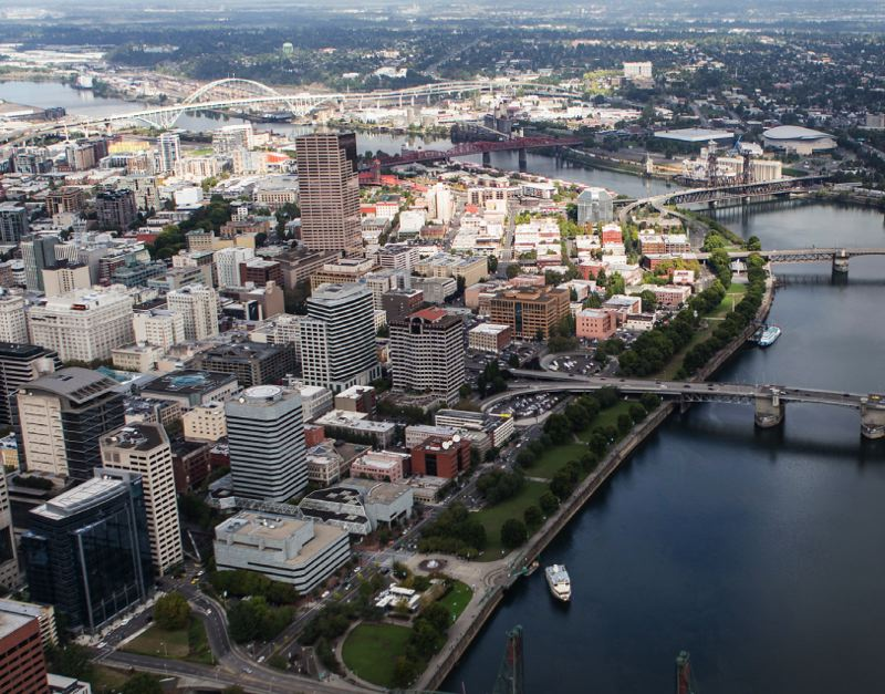 VIA FROG FERRY - The Willamette River and downtown Portland are shown here.