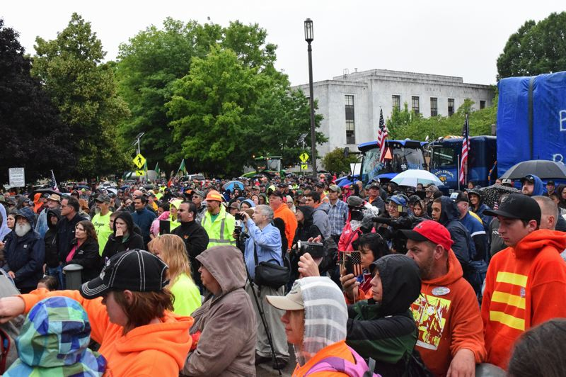 PMG FILE PHOTO - Crowds of Timber Unity supporters gathered in the state Capital in 2019 to block climate change legislation. Gov. Kate Brown signed an executive order Tuesday, March 10, to implement parts of the disputed legilsation.