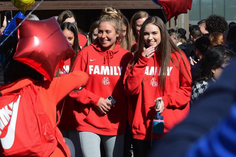 PMG PHOTO: DAVID BALL - La Salle Prep students gave the Falcons' girls basketball team a rousing sendoff as they departed for Tuesday's quarterfinals of the OSAA 5A quarterfinals at Gill Coliseum in Corvallis.