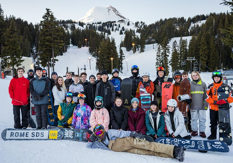 COURTESY PHOTO - The West Linn snowboard team has looked at home on the mountain all year, and next, the Lions will test themselves in the state competition at Mt. Hood Meadows.