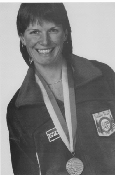 Joni Huntley with her Olympic medal.