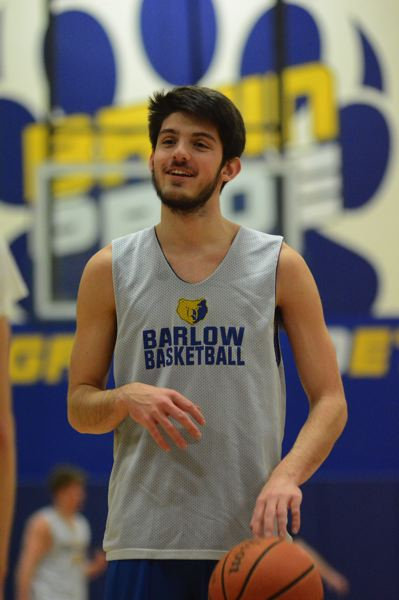 PMG PHOTO: DAVID BALL - Barlow senior Joey Wolcott shares a laugh while going through a free-throw session.