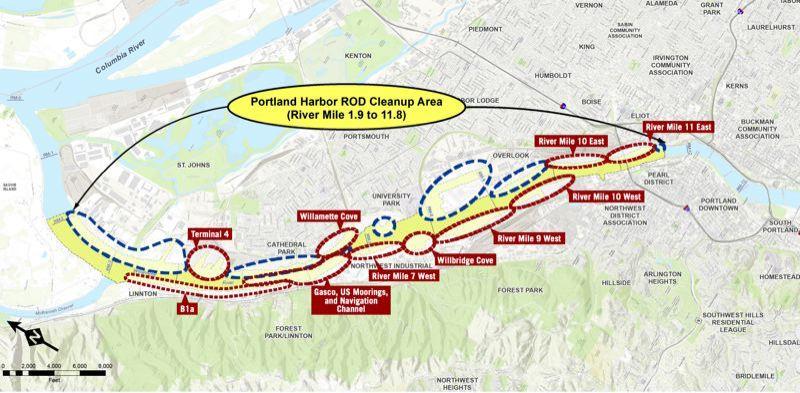COURTESY EPA - A recent EPA map of the Portland Harbor Superfund Site cleanup planning progress.
