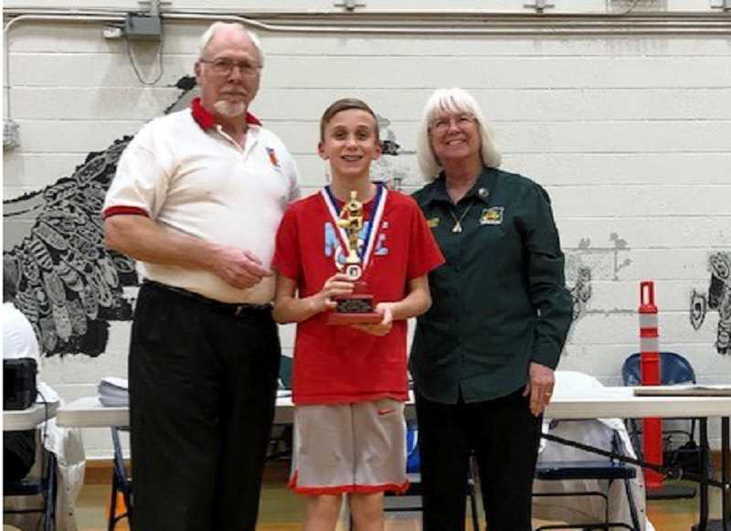 SUBMITTED PHOTO - Jackson Hertel, 13, has won three Elks Free Throw contest competitions and will now be competing in the Regional hoop shoot for the Northwest Region 1. That contest will be held at Columbia Basin College in Pasco, Washington, March 14.