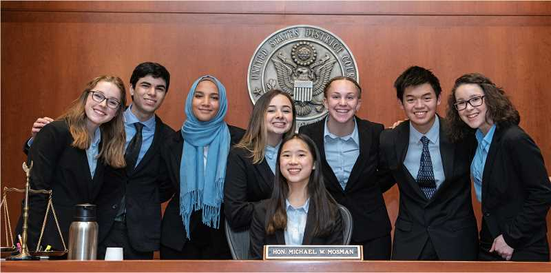 COURTESY PHOTO: ANDIE PETKUS - West Linn High Schools Mock Trial team took won first place at the 2020 mock trial state finals March 6 and 7.