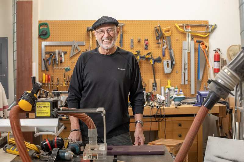 PMG PHOTO: JONATHAN HOUSE - Roger Woehl in his West Linn workshop, where he builds musical instruments that are installed at public playgrounds.