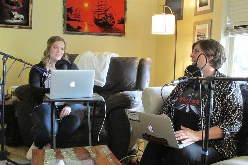 PMG PHOTO: JASON VONDERSMITH - Emily Rowney (left) and Alisha Holland have discussed several true crimes in recent months — Mulugeta Seraws murder, Canadian serial killer Clifford Olson, the Starry Night Murder. An upcoming podcast looks at one of serial killer Ted Bundys early victims.