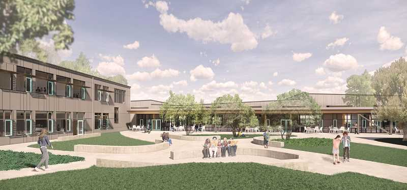 COURTESY PHOTO: LAKE OSWEGO SCHOOL DISTRICT - The new Lakeridge Middle School's central courtyard will create a secure area in the middle of school.