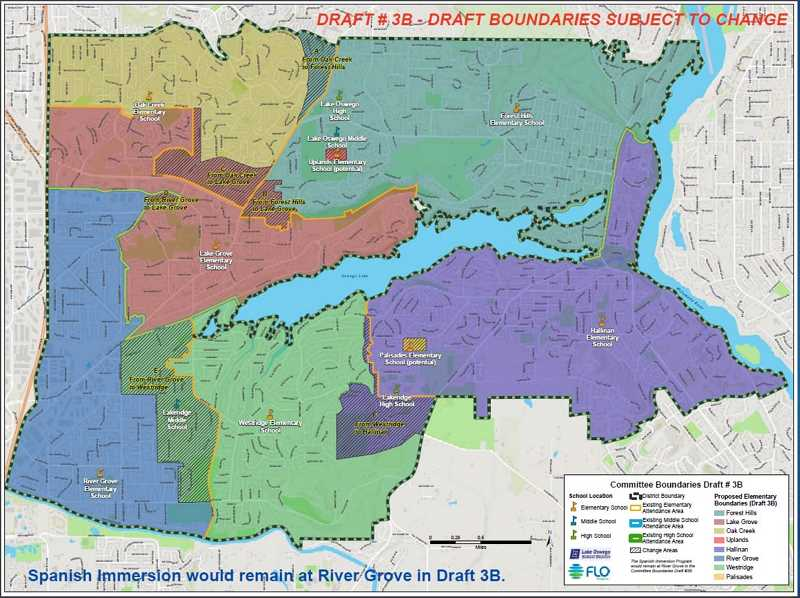 COURTESY PHOTO: LAKE OSWEGO SCHOOL DISTRICT - Draft 3B would shift enrollment from River Grove to Westridge and from Westridge to Hallinan.