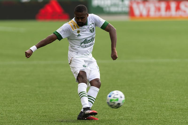 PMG PHOTO: CHRISTOPHER OERTELL - Chris Duvall plays a ball for the Portland Timbers during their 1-0 victory at home over expansion Nashville SC.