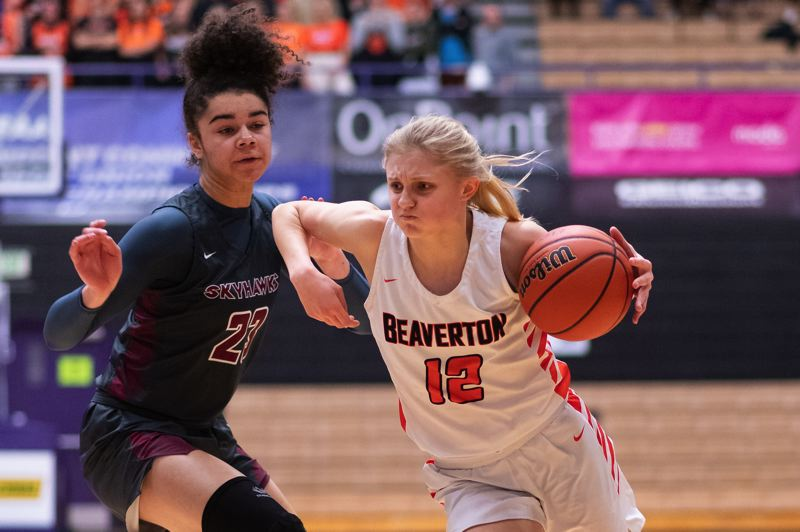 TIMES PHOTO: CHRIS OERTELL - Beaverton senior point guard Mary Kay Naro scored all eight of her points in the final five minutes of the fourth quarter against Southridge.