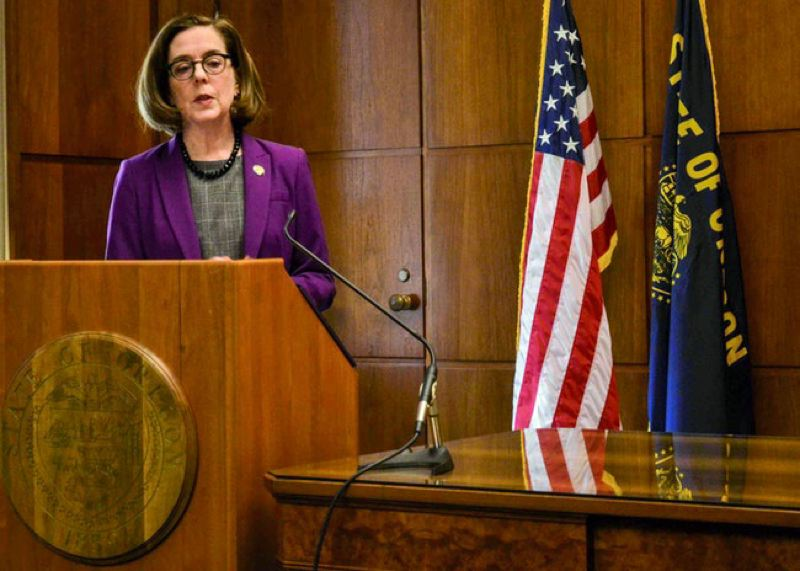 PMG FILE PHOTO - Gov. Kate Brown speaks at the Oregon State Capitol last month.