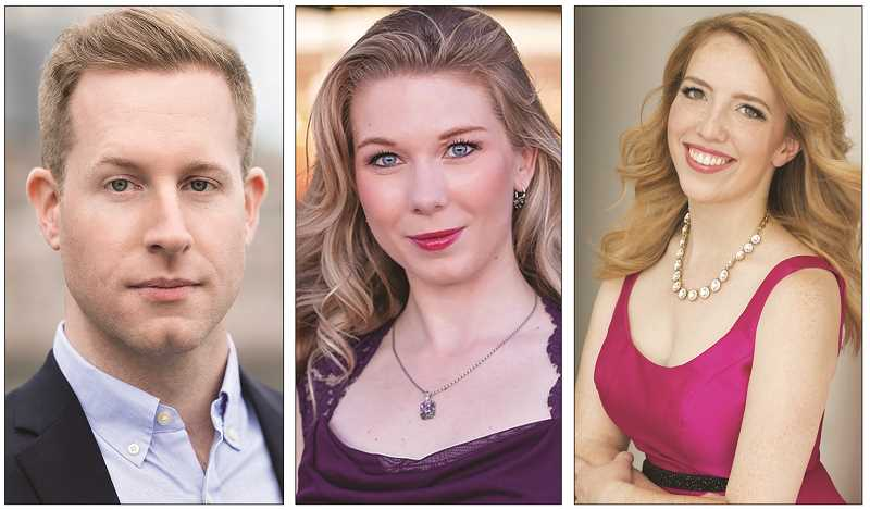 COURTESY PHOTO - From left to right, Darrel Jordan, who is singing the role fo Belcore in the show, Chelsea Janzen, who is singing the role of Gianetta, and Emily Way, who is singing the role of Adina.